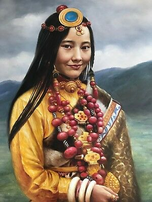 """Beautiful Portrait Oil Painting on Canvas 24"""" x 30"""" Young Asian Lady Original"""