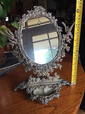 Antique/vintage Silver Plate Display Mirror On Pivot
