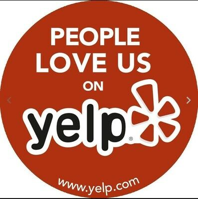 """YELP LOGO STICKER DECAL RED 4"""" x 4"""" VINYL BUSINESS SIGN PEOPLE LOVE US ON YELP"""