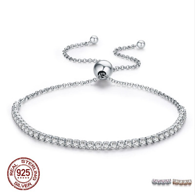 Authentic Sterling Silver Sparkling Strand Bracelet Clear CZ Cubic Zirconia New