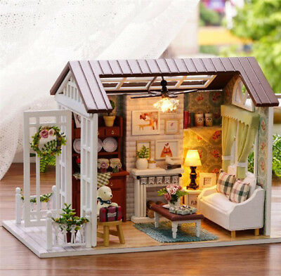 LED Wooden Dollhouse Miniature Furniture Kit Toy Doll House DIY Handcraft Gift A