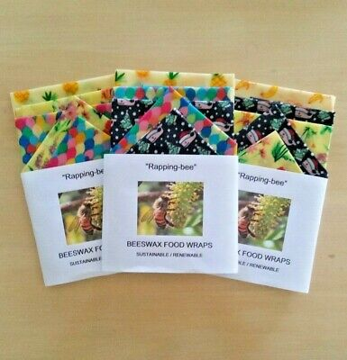 BEESWAX FOOD WRAPS 5piece childrens lunch pack.  Say no to cling wrap