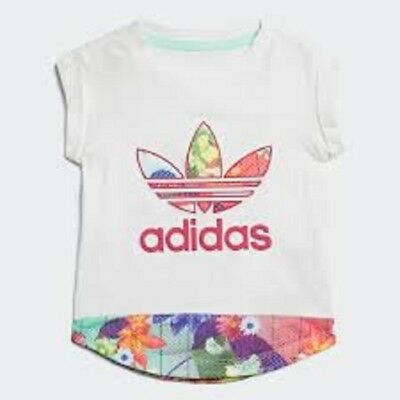 girls adidas t-shirt floral graphic top size 6 - 9 months infants kids
