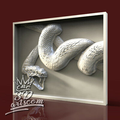 3D Model STL for CNC Router Artcam Aspire Snake Animal Panel Cut3D Vcarve