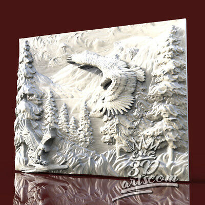 3D Model STL CNC Router Artcam Aspire Soaring Eagle Sky Panel Cut3D Vcarve
