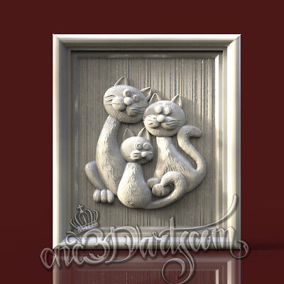3D Model STL for CNC Router Artcam Aspire Trio Cats Family Panel Cut3D Vcarve