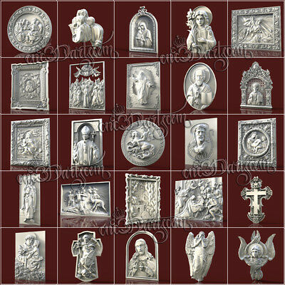 25 PCS RELIGION PACK 3D STL Models for CNC Router Carving Artcam aspire Cut3D