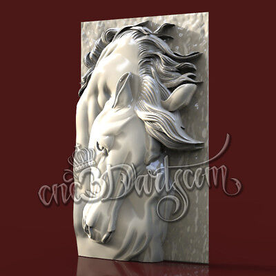 3D Model STL for CNC Router Artcam Aspire Horse Head Panel Cut3D Vcarve