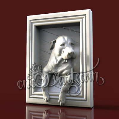 3D Model STL for CNC Router Artcam Aspire Dog Panel Animal Staffer Cut3D Vcarve