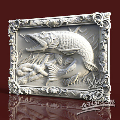 3D Model STL for CNC Router Artcam Aspire Сarp Pike Fishing Panel Cut3D Vcarve