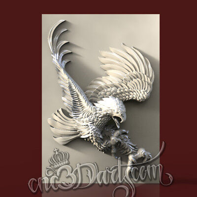 3D Model STL for CNC Router Artcam Aspire Hawk Open Wings Panel Cut3D Vcarve