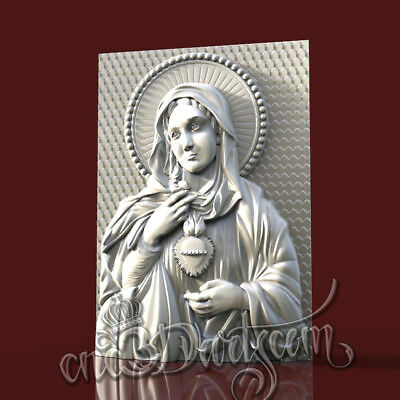 3D Model STL for CNC Router Artcam Aspire Religion The Virgin Mary Cut3D Vcarve