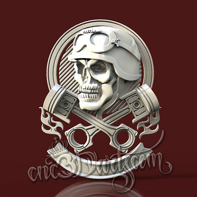 3D Model STL for CNC Router Artcam Aspire Motorcycles Skull Panel Cut3D Vcarve