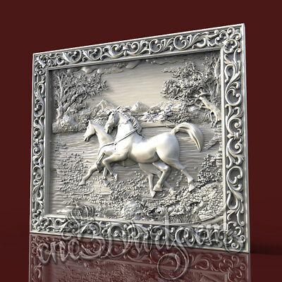 3D Model STL for CNC Router Artcam Aspire Two Horse Running Panel Cut3D Vcarve