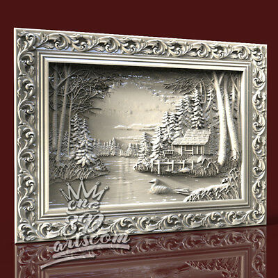 3D Model STL CNC Router Artcam Aspire Lake House Village Panel Cut3D Vcarve