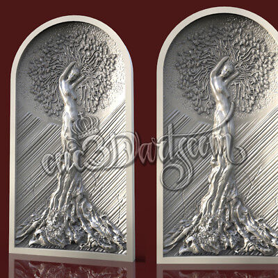 3D Model STL for CNC Router Artcam Aspire Tree Life Woman Panel Cut3D Vcarve