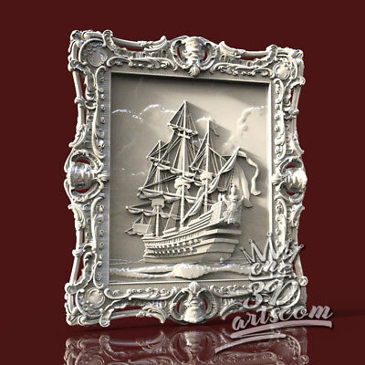 3D Model STL for CNC Router Artcam Aspire Pirates' Ship Panel Cut3D Vcarve