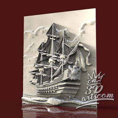 3D Model STL for CNC Router Artcam Aspire Frigate Ships Sea Panel Cut3D Vcarve