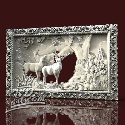 3D Model STL 4 CNC Router Artcam Aspire Hunting Deers Forest Panel Cut3D Vcarve