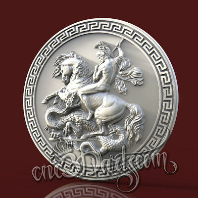 3D Model STL For CNC Router Artcam Aspire Religion St. George Panel Cut3D Vcarve