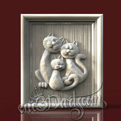 3D Model STL for CNC Router Artcam Aspire Animal Trio Cats Panel Cut3D Vcarve