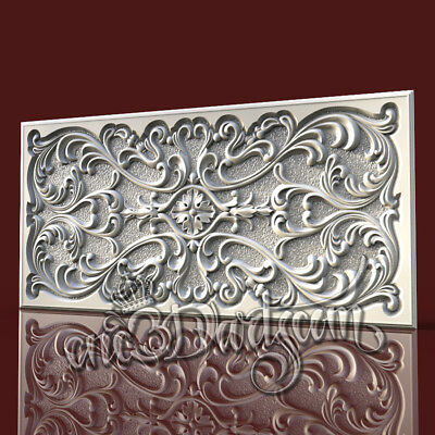 3D Model STL for CNC Router Artcam Aspire Wall Panel Scroll Pattern Cut3D Vcarve