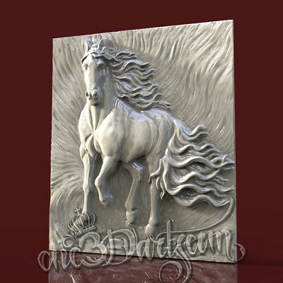 3D Model STL for CNC Router Artcam Aspire Animal Black Horse Panel Cut3D Vcarve