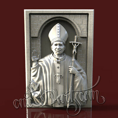 3D Model STL for CNC Router Artcam Aspire Religion Pontiff Panel Cut3D Vcarve