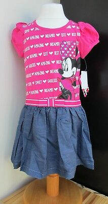 Girls Official Disney Minnie Mouse Dress Glitter Sparkle Ages 3 4 5 BNWT UK