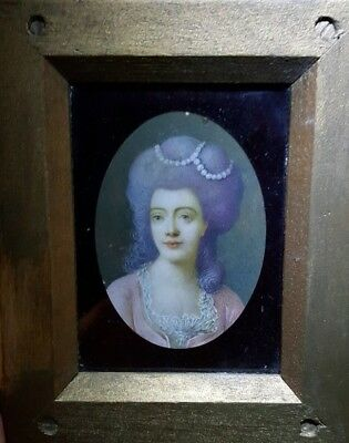 Framed portrait miniature of a young lady in a pink 18th Century dress, c1900