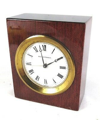 Beautiful Matthew Norman London swiss mahogony alarm mantle clock