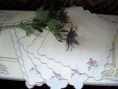 Lovely set of Vintage Irish Linen Napkins flowers embroidery scalloped edges.