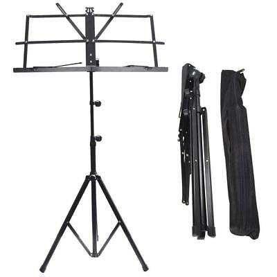 Metal Music Stand Black Adjustable Sheet Holder Lightweight Non-Slip Carry Bag