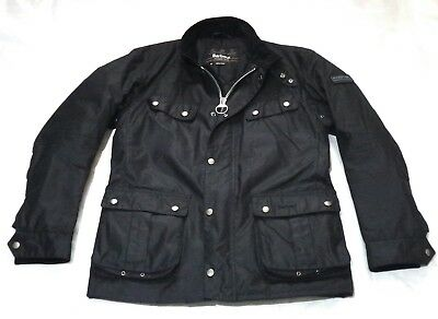 "New £225 Barbour International "" Duke  "" Black Wax Jacket - Med - Steve Mcqueen"