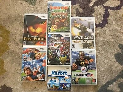 🎁Nintendo Wii Game Lot Of 7 -TESTED/CLEANED - Sports Resort, Super Smash Bros🎁