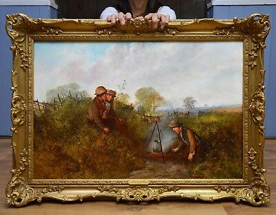 Fine Large Antique 19thC Oil Painting of Victorian Children in Summer Landscape