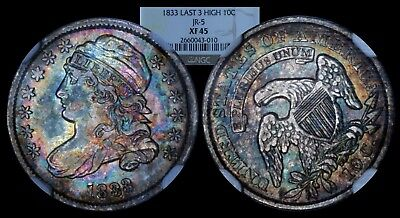 1833 10C Capped Bust Dime NGC XF45 High 3 Colorful Rainbow Toned Type Coin