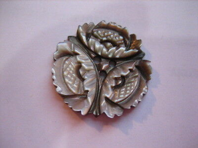 "Vintage 7/8"" Triad Floral Carved Mother Of Pearl, Shell 3 Hole Button - PB49"