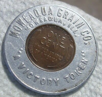 Moweaqua Grain Co.  Moweaqua, IL.  Encased 1945 Lincoln 1c.  Illinois. Unlisted.