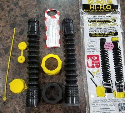 EZ POUR HI-FLO Gas Can Replacement Spout Nozzle Vent Kit Fits Most Plastic Cans