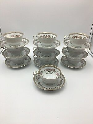 Noritake Cordell Pattern Set Of 10 Cups And 10 Saucers