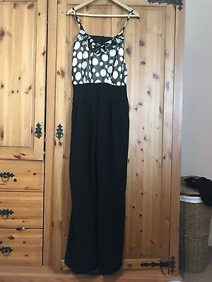 Topshop Black And White Polka Dot Jumpsuit Size 10 Eur 608