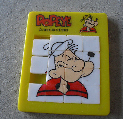Vintage 1981 Plastic Popeye Tray Puzzle Toy