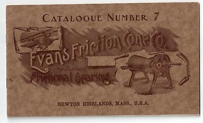 Vintage C1910 Evans Friction Cone Co. 7 Brochure Automobile Frictional Gearing