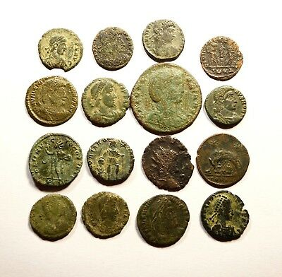 Lot Of 16 Imperial Roman Bronze Coins For Identifying - 068