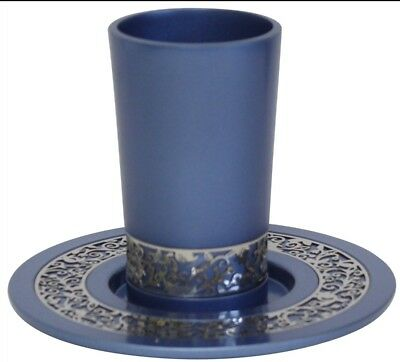 Wine Kiddish Cup Yair Emanuel Kiddush Cup with Plate - Blue For Shabbat