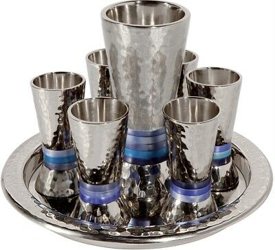 Shabbat Kiddush Wine Fountain Jerusalem  6 small Cups/ 1 big Cup For Kiddish Cup