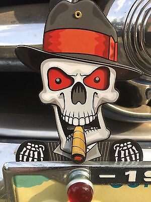 License Plate Toppers  Skull Bulk Deal Metal Lot of 12.  eyes and cigar moves