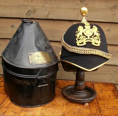 Boer War - Royal Army Medical Corps - Officer's Blue Cloth Helmet & Carrying Tin