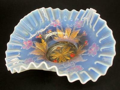 Antique Dugan Wilted Flowers Opalescent Goofus Glass Tri Corner Centerpiece Bowl